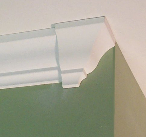 Crown molding corners deco end cap left or right for Miterless crown moulding